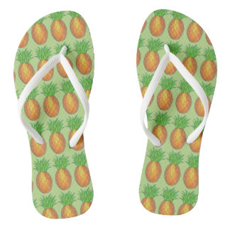 Tropical Pineapple Pineapples Island Fruit Print Flip Flops