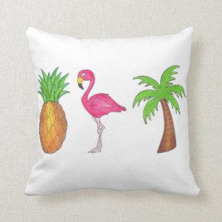 Tropical Pineapple Pink Flamingo Palm Tree Pillow