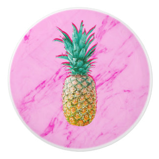Tropical Pineapple & Pink Marble Modern Colorful Ceramic Knob