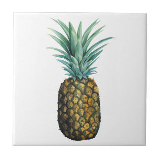 Tropical Pineapple Watercolor Tile
