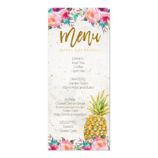 Tropical Pineapple Wedding Menu Card