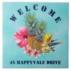 Tropical Pineapple Welcome House Address Tile