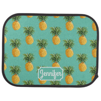 Tropical Pineapples On Teal | Add Your Name Auto Mat
