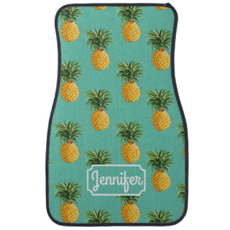 Tropical Pineapples On Teal | Add Your Name Car Liners