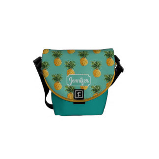 Tropical Pineapples On Teal | Add Your Name Messenger Bags