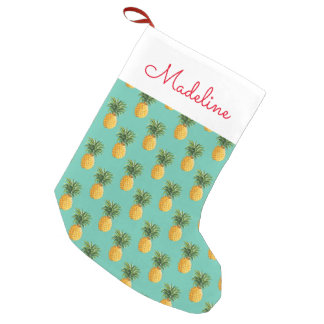 Tropical Pineapples On Teal | Add Your Name Small Christmas Stocking