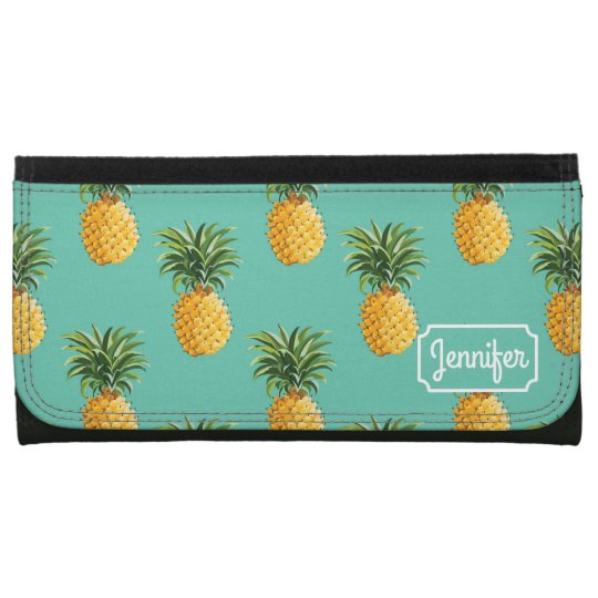 Tropical Pineapples On Teal   Add Your Name Wallet