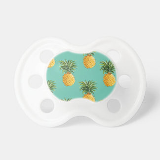 Tropical Pineapples On Teal Baby Pacifiers