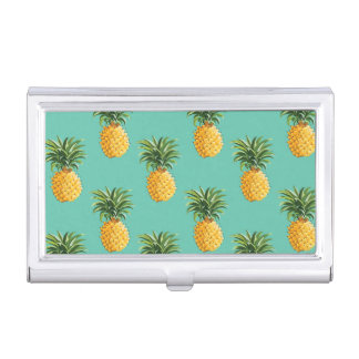 Tropical Pineapples On Teal Business Card Holders