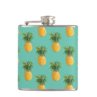 Tropical Pineapples On Teal Flask