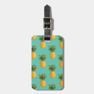 Tropical Pineapples On Teal Luggage Tag