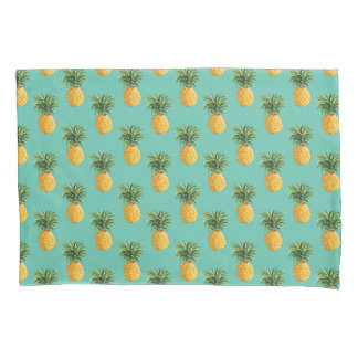 Tropical Pineapples On Teal Pillowcase