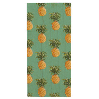 Tropical Pineapples On Teal Wood USB 2.0 Flash Drive