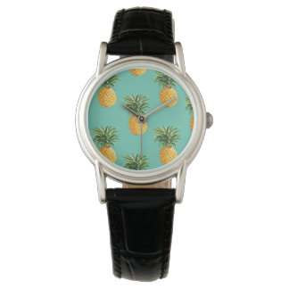 Tropical Pineapples On Teal Wristwatch