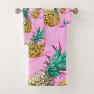 Tropical Pineapples & Pink Marble Modern Colorful Bath Towel Set
