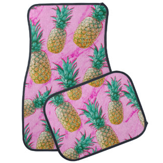 Tropical Pineapples & Pink Marble Modern Colorful Car Mat