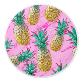 Tropical Pineapples & Pink Marble Modern Colorful Ceramic Knob