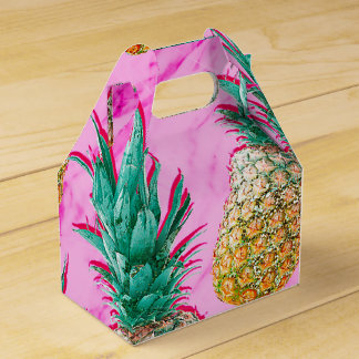 Tropical Pineapples & Pink Marble Modern Colorful Favor Box