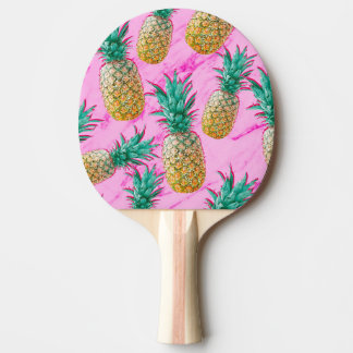 Tropical Pineapples & Pink Marble Modern Colorful Ping Pong Paddle