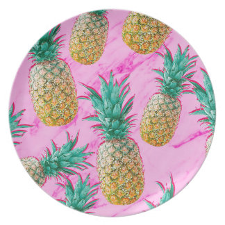 Tropical Pineapples & Pink Marble Modern Colorful Plate