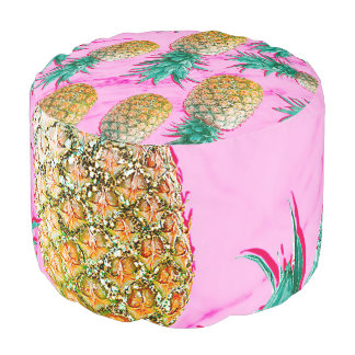 Tropical Pineapples & Pink Marble Modern Colorful Pouf