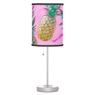 Tropical Pineapples & Pink Marble Modern Colorful Table Lamp