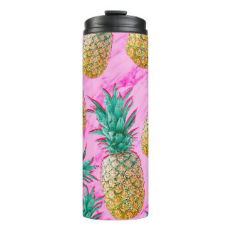 Tropical Pineapples & Pink Marble Modern Colorful Thermal Tumbler
