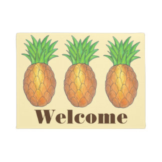 Tropical Pineapples WELCOME Pineapple Door Mat