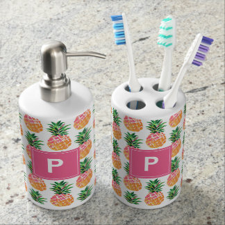 Tropical Pineapples with Custom Monogram Soap Dispenser And Toothbrush Holder