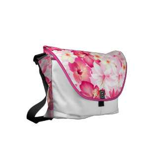 Tropical pink and white flowers messenger bag