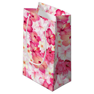 Tropical pink and white flowers small gift bag