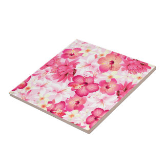 Tropical pink and white flowers tile