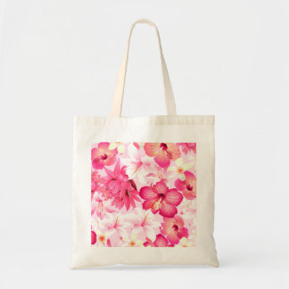 Tropical pink and white flowers tote bag