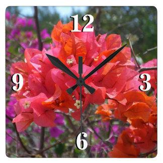 Tropical Pink Bougainvillea Square Wall Clock