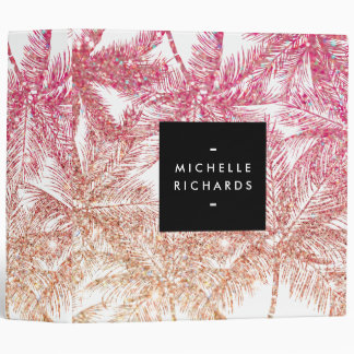 Tropical Pink/Bronze Glitter Palms Personalized Vinyl Binder