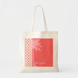 Tropical Pink Coral Polka Dots Canvas Bags