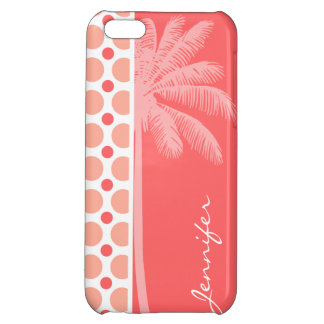 Tropical Pink Coral Polka Dots iPhone 5C Cases
