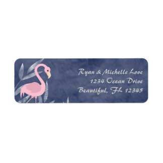 Tropical Pink Flamingo Beach Address Return Address Label