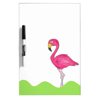 Tropical Pink Flamingo Bird Dry Erase Board