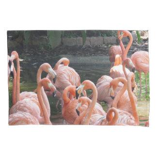 Tropical pink Flamingo birds Pillowcase