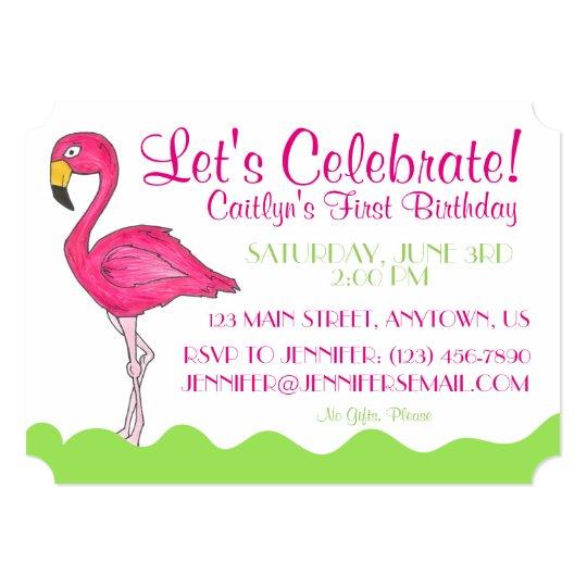 Tropical Pink Flamingo Birthday Party Invitations