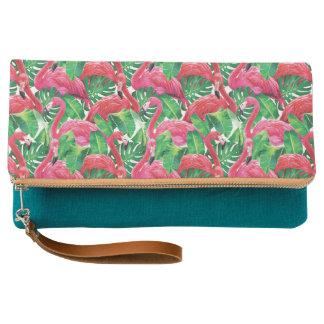 Tropical Pink Flamingo Clutch Bag