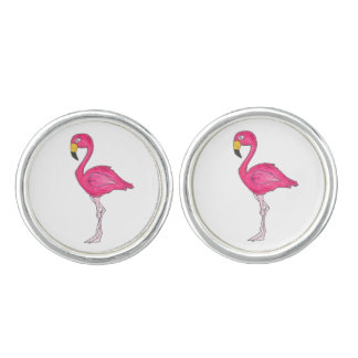 Tropical Pink Flamingo Flamingos Bird Cufflinks
