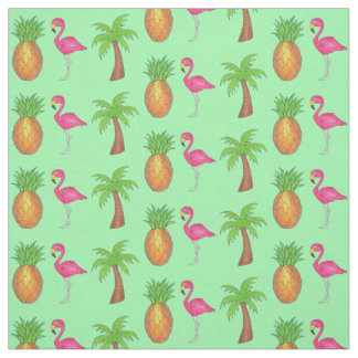 Tropical Pink Flamingo Green Palm Tree Pineapple Fabric