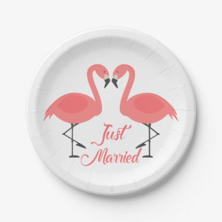 Tropical Pink Flamingo Just Married Wedding - Luau Paper Plate