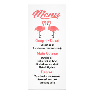 Tropical Pink Flamingo Menu Wedding, Party Luau