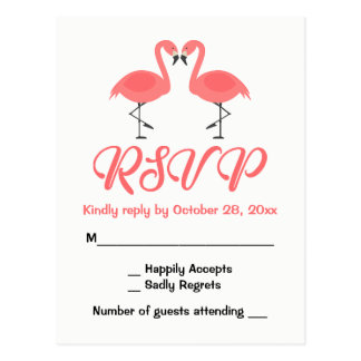 Tropical Pink Flamingo RSVP Wedding Luau Summer Postcard