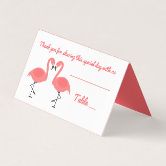 Tropical Pink Flamingo Thank You Wedding Party Place Card