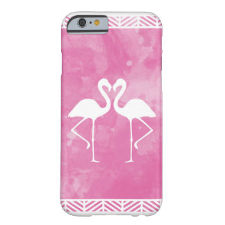 Tropical Pink Flamingo Watercolor Silhouette Barely There iPhone 6 Case