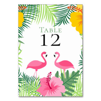 Tropical Pink Flamingos Flowers Wedding Card